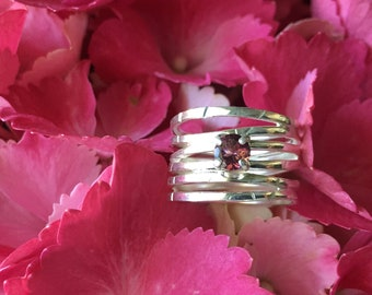 Silver Wave Ring with Pink Tourmaline