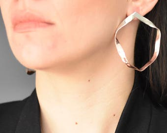 Silver large hoop earrings, rose gold plated