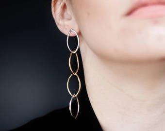 Long silver and bronze rhombus earrings
