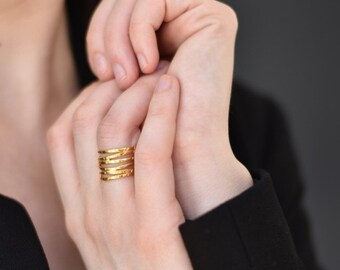 Wave ring, silver gold-plated 24K