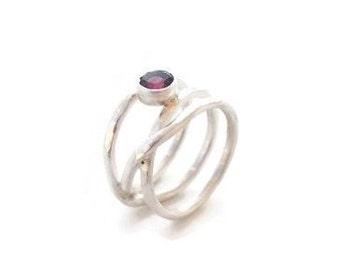Silver pink semi precious tourmaline ring
