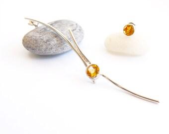 Sterling silver citrine gemstone earrings