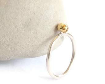 Simple silver ring with brass