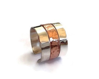 Sterling silver ring, silver and copper ring, contemporary ring band, modern ring band