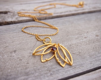 Long silver necklace goldplated silver necklace red garnet necklace gemstone necklace january birthstone womens jewelry