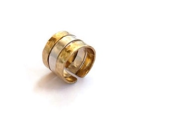 Silver and brass hammered ring band