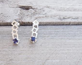 Silver earrings sterling silver earrings silver studs gemstone earrings birthstone jewelry iolite earrings blue gemstone women jewellery