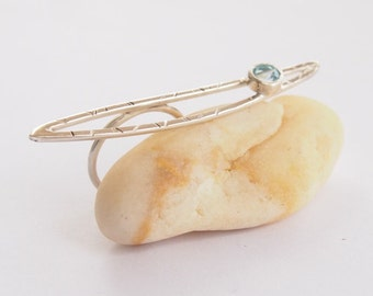 Handmade silver ring with precious topaz stone, statement ring, large ring, cocktail ring, handmade womens jewelry