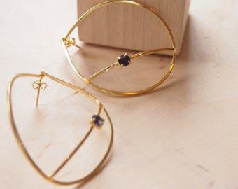 Gold-plated silver earrings with blue iolite stone, gold-plated gemstone earrings, large earrings, statement  earrings