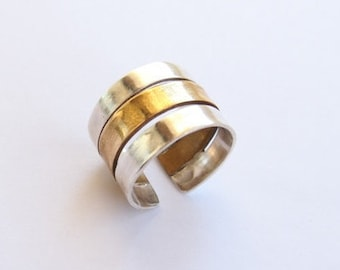 Silver and brass ring band
