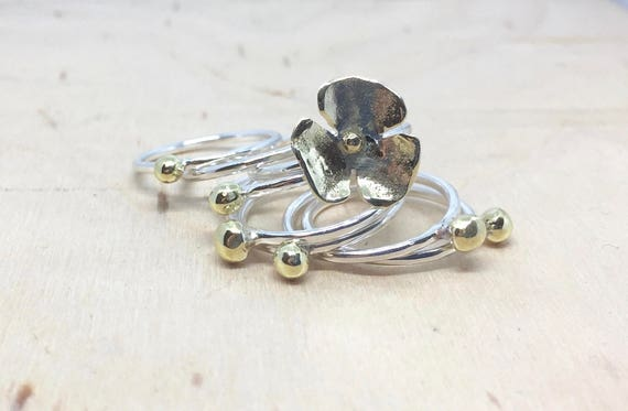 Stackable ring set with flower ring