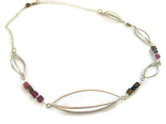 3d necklace with tourmaline semi precious gemstones