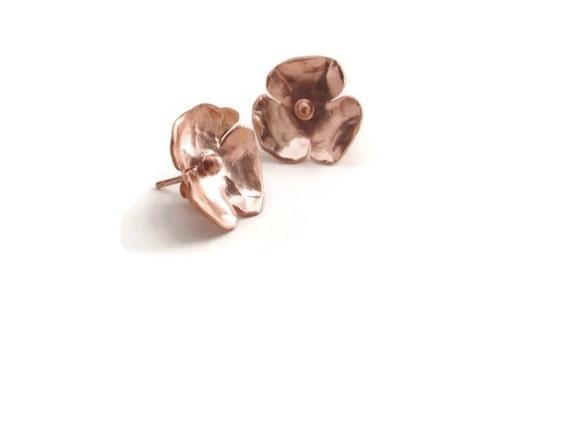 Rose gold plated silver flower earrings
