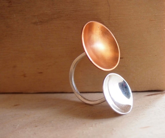 Cooper and silver circle ring