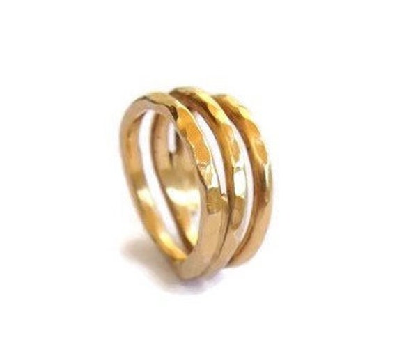 Gold plated handmade silver wire ring