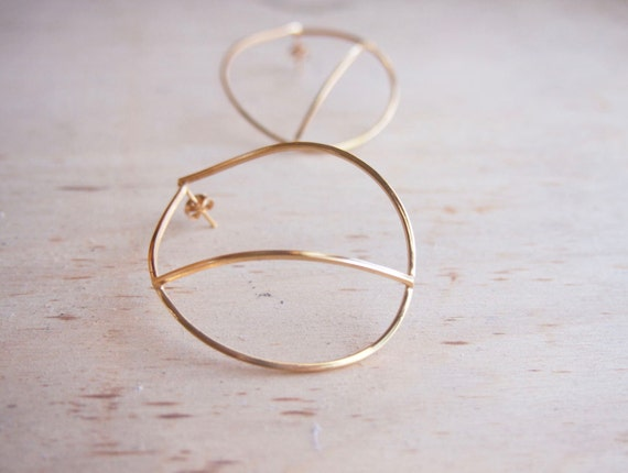 Large gold plated silver statement earrings