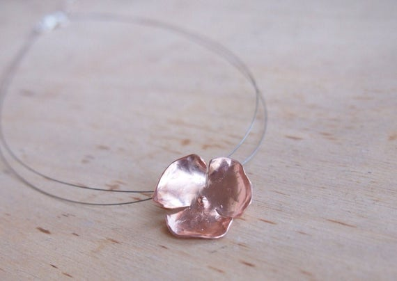 Rose gold plated silver flower necklace