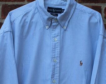 309db767 Original Vintage Ralph Lauren Blake Classic Fit Blue Stripe 100% Cotton  Shirt XL