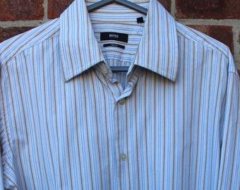 b69f8f20c Original Vintage Boss Hugo Boss Two Ply Stripe 100% Cotton Shirt 16 1/2 L
