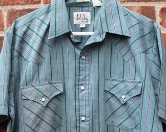 61553b91 Original Vintage Ely Cattleman Western Stripe Pattern Shirt Large Tall
