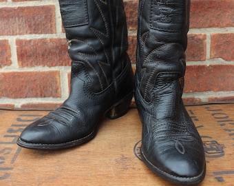 9507596295c4d Vintage 1980's Womens Rare Levis Orange Tab Black Leather Western Cowboy  Ranch Boots US 7 UK 5
