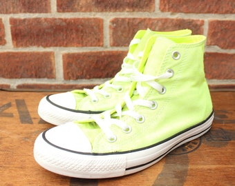 more photos 93266 42f21 Vintage Neon yellow Hi Top Baseball Converse All Star Sneakers UK 6 US Mens  6 US Womens 8