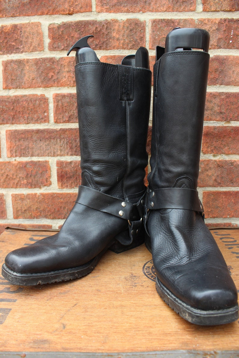 84ff0d44814 Vintage Joe Sanchez Black Harness Leather Western Cowboy Biker Rockabilly  Boots US 11 UK 10 EU 44