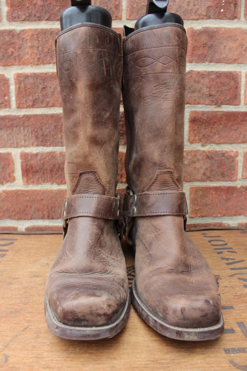 dadd5871bef Vintage Brown Harness Leather Western Cowboy Biker Rockabilly Boots US 9 UK  8 EU 42