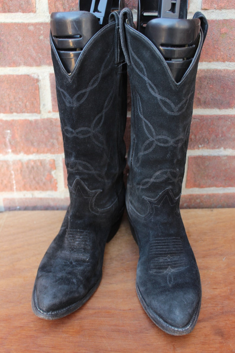 4948bcc9314 Vintage Womens Black Suede Tony Lamas Leather Western Cowboy Ranch Boots US  6.5 UK 4.5