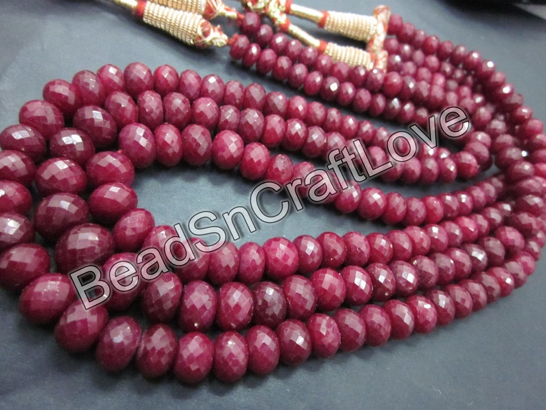 Ruby faceted rondelle gemstone beads necklace 5-9mm 16inch   AAA quality