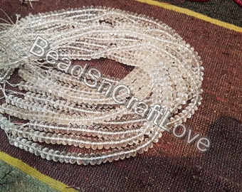Rock Crystal clear quartz faceted rondelle beads 7-8mm, 8inch      AAA quality