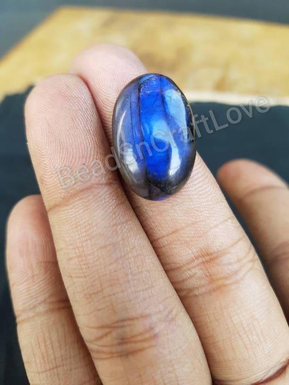 Labradorite arc-en-pierre de lune bleu flashy forme ovale lisses / plain poires forme Cabochon 14 x 23 x 7,5 mm, AAA