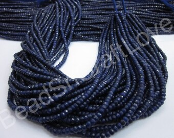 Blue Sapphire micro faceted rondelle 3-3.5mm or 4-4.5mm, 160 or 140 pieces   AAA quality