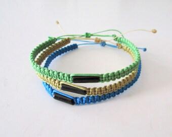Onyx Bracelet - Friendship Bracelet  - Surfer Bracelet - Beach Bracelet  - Macrame Bracelet - Mens Bracelets