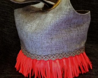 Project Bag Flat Bottom Dumpling: Pink Fringe Braided Rope