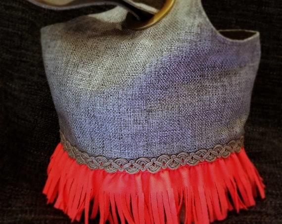 Project Bag Flat Bottom Dumpling: Pink Fringe Braided Rope