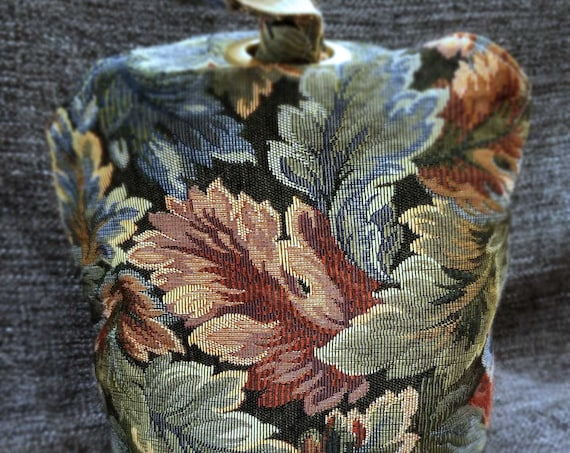 Project Bag Flat Bottom Dumpling: Rich Brocade Faux Leather with Braid