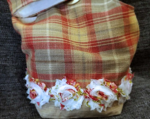 Project Bag Flat Bottom Dumpling: Country Plaid and Roses