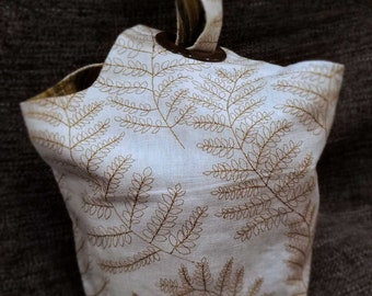Project Bag Flat Bottom Dumpling: Embroidered Leaves Texture Stripes