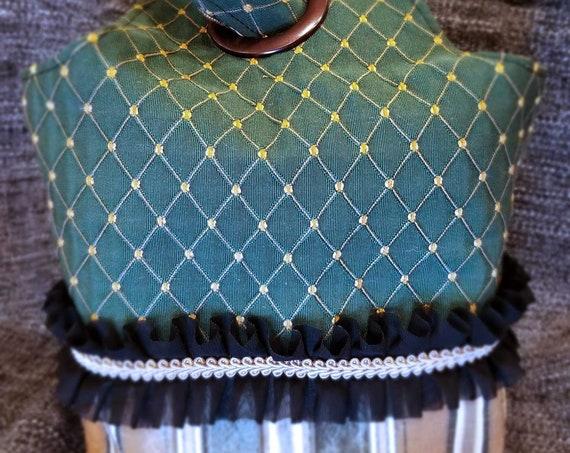 Project Bag Flat Bottom Dumpling: Elegant Green Argyle Black Ruffle Gold Braid