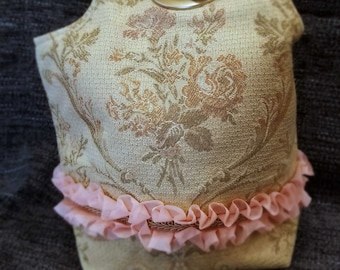 Project Bag Flat Bottom Dumpling: Victorian Roses Pink Ruffle Gold Braid