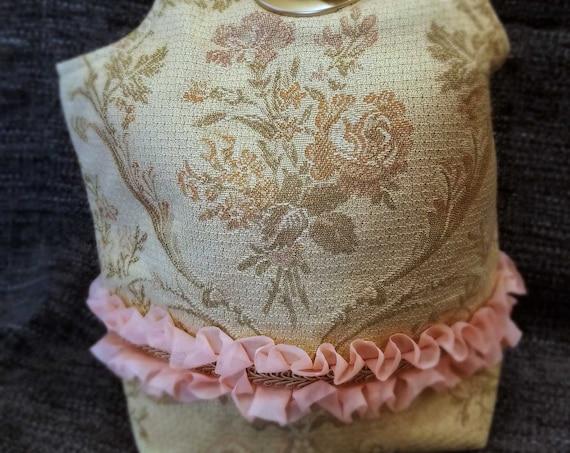 Project Bag Flat Bottom Dumpling: Victorian Roses Pink Ruffle Gold Braid