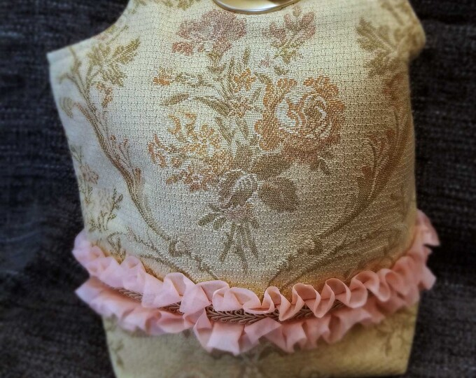 Featured listing image: Project Bag Flat Bottom Dumpling: Victorian Roses Pink Ruffle Gold Braid