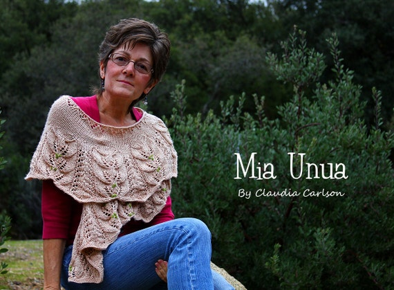 Mia Unua beaded shawl, forest inspired, shawl shoulder wrap. PATTERN