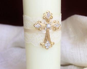 Unity Candle Set Gold Cross Candle Set, Church Wedding Unity Candles for Wedding, Lace Unity Candle Set Gold Wedding Cross Christian Wedding