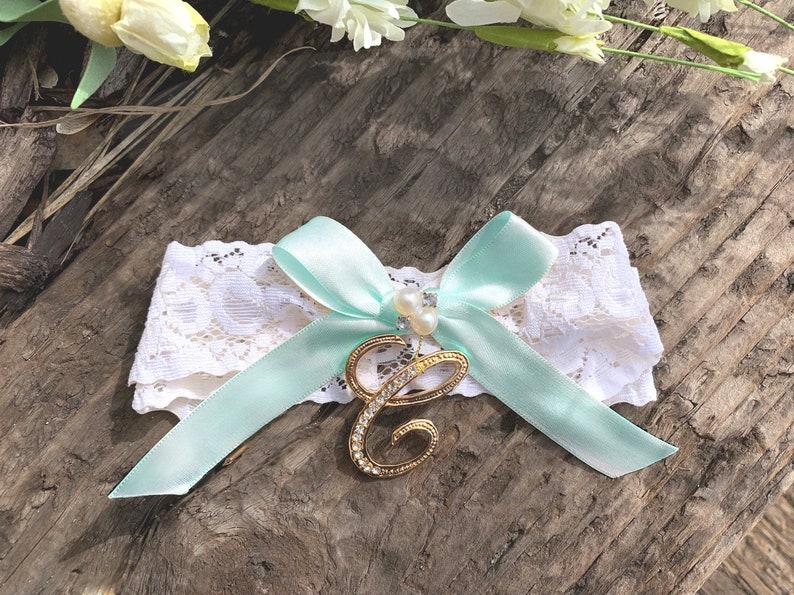 Luxury Lace Bridal Garter Something Blue Pearl Flower Beaded Wedding Bride Y