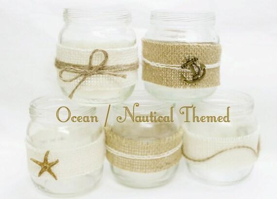 Nautical Mini Mason Jar Wedding Decorations Nautical Tea Etsy