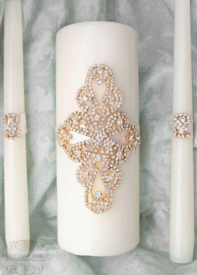 Unity Candle Set Gold Wedding Candle Unity Rhinestone Unity Gold