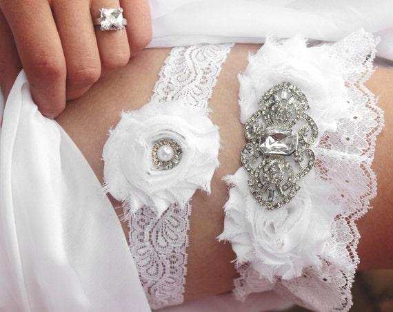 34dc49bfbf White Lace Wedding Garter CELESTE Winter wedding garters.