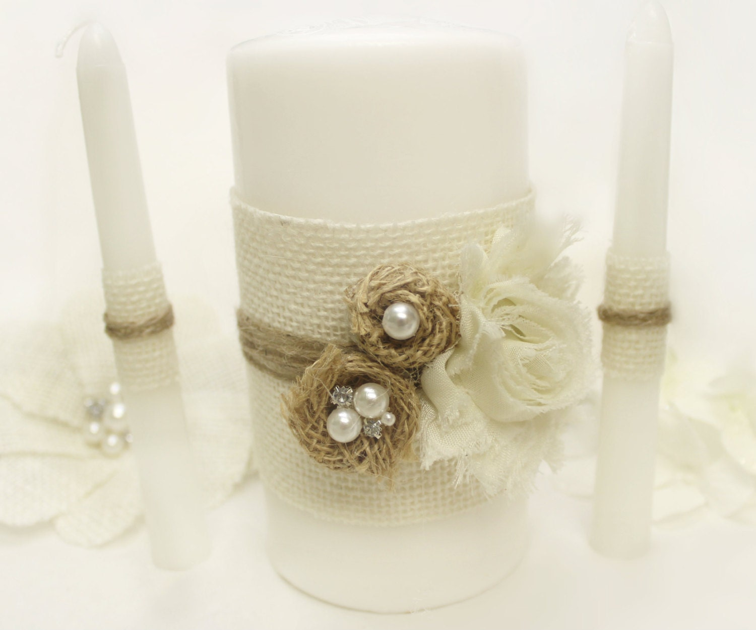 Wedding Candles: Burlap Unity Candles Wedding White OR Ivory Burlap & Pearl